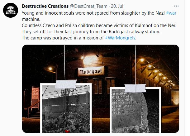 """Screenshot eines Tweets von Destructive Creations zu War Mongrels. Der Tweettext lautet: """"Young and innocent souls were not spared from slaughter by the Nazi #war machine. Countless Czech and Polish children became victims of Kulmhof on the Ner. They set off for their last journey from the Radegast railway station. The camp was portrayed in a mission of #WarMongrels."""""""